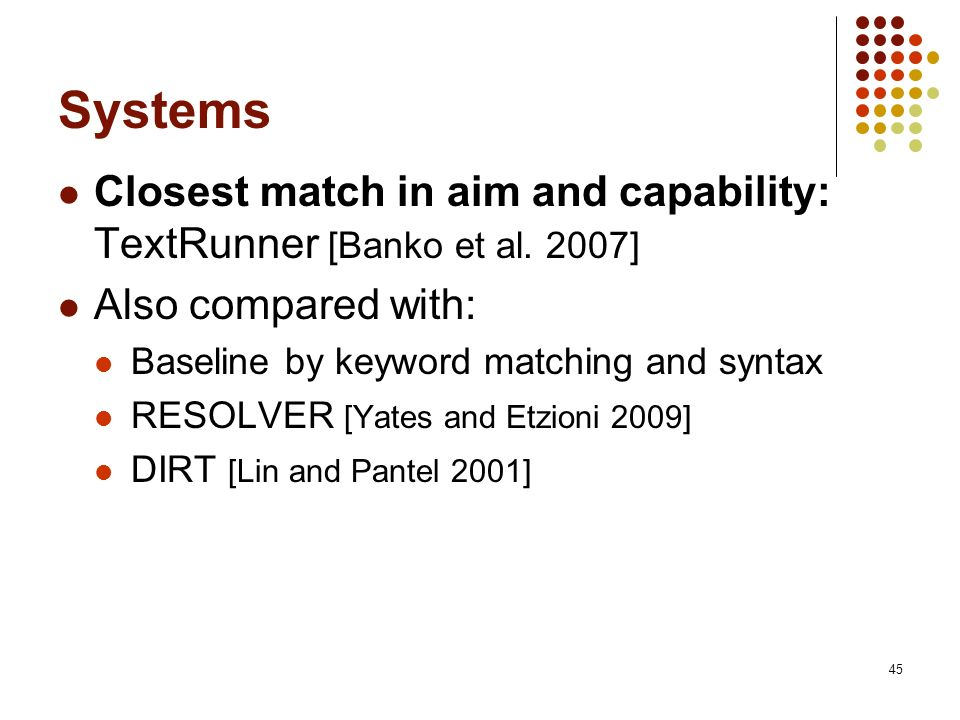 Systems Closest match in aim and capability: TextRunner [Banko et al. 2007] Also compared with: Baseline by keyword matching and syntax.